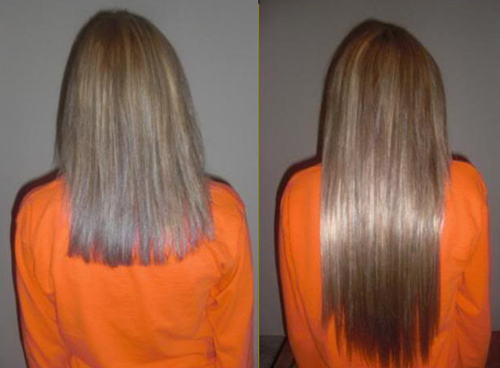 Before and After Photo: Kathrine Utzinger gets a little length with hair extensions.