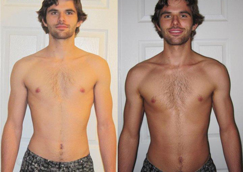 Before and After Photo: Christian Frankhouser gets his great spray tan.
