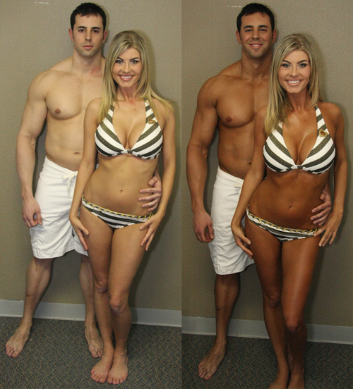 Before and After Photo: Ericka and Clinton have a spray tan done together. The effects are awesome.