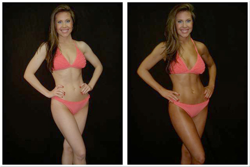 Before and After Photo: Lakisha Korth gets a spray tan done and shows it off in her bikini.